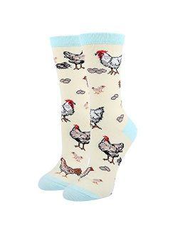 HAPPYPOP Womens Cute Chicken Goat Hen Farm Socks, Novelty Crazy Funny Socks