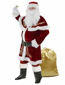 Halfjuly Mens Santa Costume Set Christmas 12pcs Deluxe Velvet Adult Santa Claus Suit