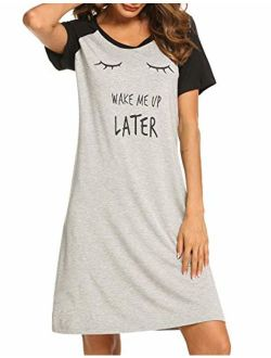 Womens Nightgowns Short Sleeve Sleepwear Printed Night Dress Cute Nightshirts S-xxl