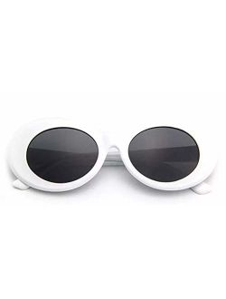 Armear Clout Goggles Oval Mod Retro Vintage Sunglasses Round Lens, White