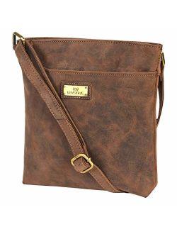 Genuine Leather Crossbody Handbag for Women - Shoulder bag for Womens Handmade by LEVOGUE (BROWN OILY HUNTER)