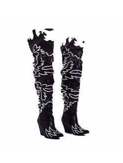 Cape Robbin Kelsey-21 Cowboy Boots Women, Over The Knee Western Cowgirl Boots with Chunky Block Heels, Fashion Dress Boots for Women