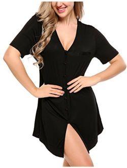 Women's Nightshirt Short Sleeve Button Down Nightgown V-neck Boyfriend Sleepshirt Pajama Dress