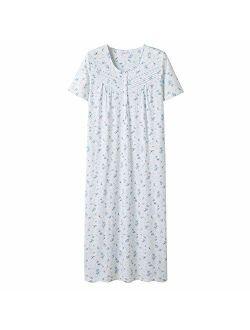 Keyocean Nightgowns for Women All Cotton Short Sleeve Long Nightgowns Soft Lightweight Sleepwear Nightshirt Loungewear