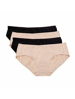 Hesta Women's Organic Cotton Basic Panties Underwear 4 Pack