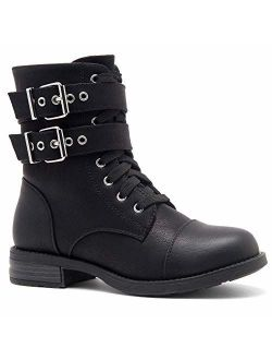 Florence2 Women's Ankle Lace Up Military Combat Booties Mid Calf Boots