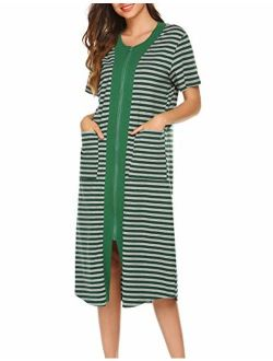 Zipper Front Housecoat Short Sleeve & Half Sleeve Zip Nightgown Long Houedress With Pockets
