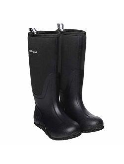 Hisea Women's Mid-Calf Rain Boots Waterproof Insulated Garden Shoes Outdoor Hunting Riding Muck Rubber Neoprene Boots