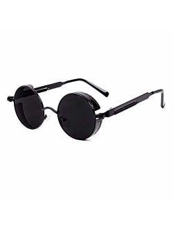 GY Gothic Polarized Sunglasses for Men Women Round Shape Metal Frame Steampunk Sun glasses Retro Circle sunglass protection