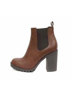 SODA Glove - Ankle Boot w/Lug Sole Elastic Gore and Chunky Heel