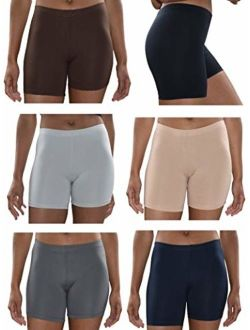 Sexy Basics Womens 6 Pack Buttery Soft Brushed Active Yoga Stretch Mini -Bike Short Boxer Briefs