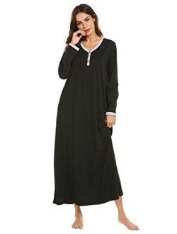 Womens Nightshirt Long Sleeves Nightgown, Casual Button Up Sleepwear Henley Full Length Sleep Dress