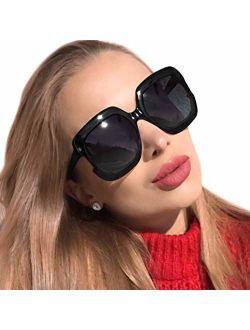 MuJaJa Classic Oversized Womens Sunglasses Polarized UV Protection Fashion Large Square Gradient Frame Design Eyewear