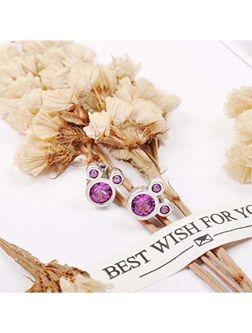 Twenty Plus Sparkling Cute Mouse Stud Earrings With CZ for Women Birthday Gifts