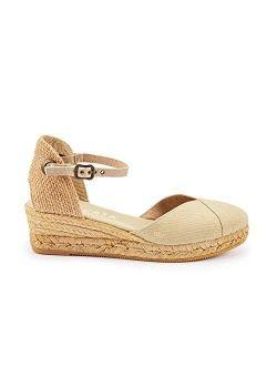 "Handmade in Spain Pubol 2"" Wedge, Ankle-Strap, Closed Toe, Classic Espadrilles Heel"