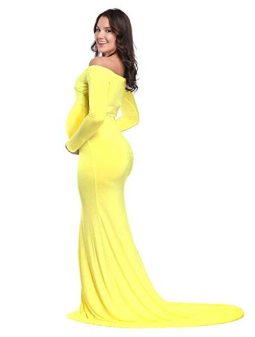 JustVH Maternity Elegant Fitted Maternity Gown Long Sleeve Cross-Front V Neck Slim Maxi Photography Dress for Photoshoot