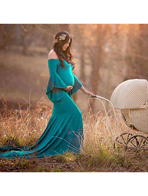 Gocheaper Pregnants Maternity Dresse,Women Ruffled Trailing Dress Photography Skirt Sexy Off Shoulders Long Dress