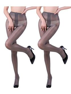 E-Laurels Women's Sheer Crotchless Pantyhose Open Crotch High Waist Tights Sexy Shiny Silk Stockings Ultra Shimmery