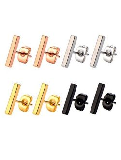 Mudder 4 Pairs Stud Earrings Stainless Steel Line Stick Stud Earring Rectangle Bar Stud for Men and Women, 4 Colors