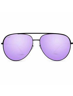 WearMe Pro - Oversized Flat Lens Fashion Designer Inspired Aviator Sunglasses