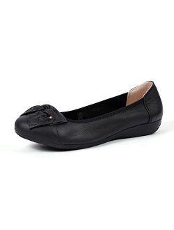 VenusCelia Women's Bows Dance Flat Shoe