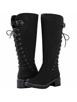 Women's Lace Up Back Knee High Fashion Boots