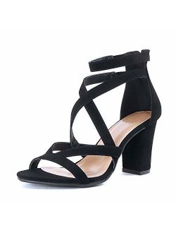 Womens Comfortable Strappy Chunky Block Sandal - Ankle Strap Open Toe Heeled Shoe Sandal