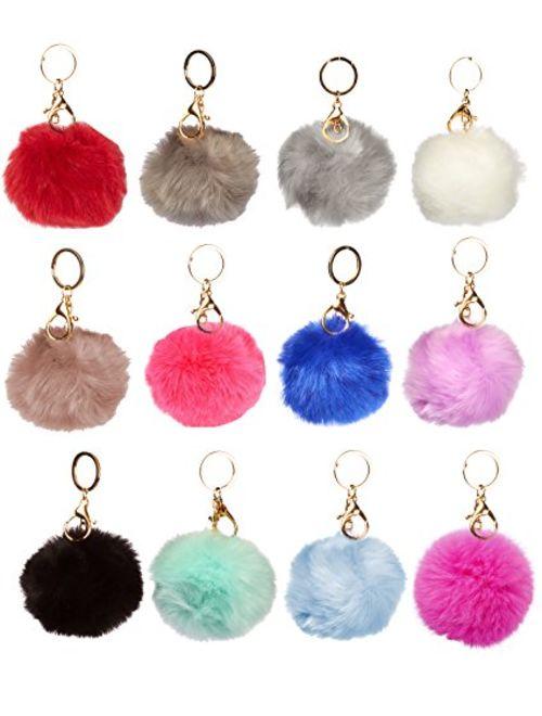 1 Dozen of Faux Fur Pom Pom Keychains