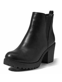 DailyShoes Women's Elastic Panel Slip On Chunky Heel Ankle Booties Chelsea Boot