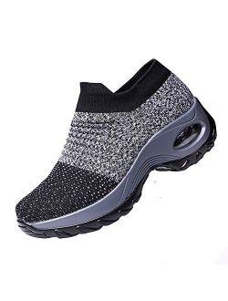 Ablanczoom Womens Walking Shoes Sock Sneakers Comfortable Mesh Wedges Platform Shoe Slip On Air Cushion Running Tennis Shoes