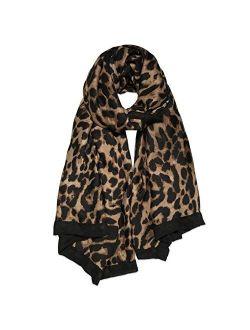 Fashion Leopard Pattern Lightweight Chiffon Silk Women Scarf Sc321