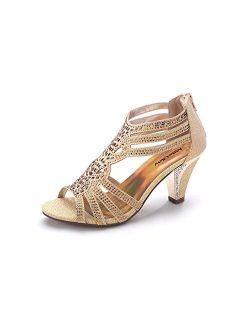 Mila Lady Women's Lexie Crystal Dress Heeled Sandals (Kimi 25)