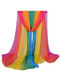 Aven Accessories Aven Women Charming Silk Georgette Long Scarf Shawl Wrap Color Rainbow, Medium