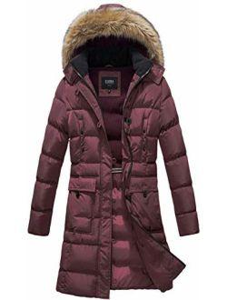 ELORA Women's Winter Puffer Mid Length Cargo Pocket Coat Fur Trim Removable Hood
