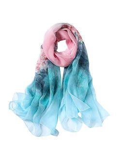 STORY OF SHANGHAI Womens 100% Mulberry Silk Head Scarf For Hair Ladies Silk Floral Head Scarfs
