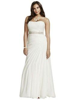 David's Bridal Crinkle Chiffon Draped Plus Size Wedding Dress Style 9V3540