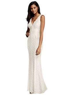 Allover Lace V-Neck Sheath Wedding Dress Style 183626DB