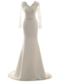 Wedding Dress Long Sleeves Mermaid Bridal Gown Lace Bride Dresses Wedding Gowns with Belt