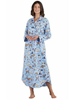 PajamaGram Women's Cotton Flannel Nightgown - Long Flannel Nightgowns for Women