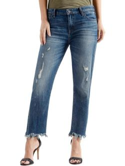 Womens Sienna Cut-off Deconstructed Boyfriend Jeans Blue 2