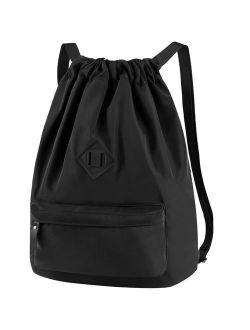 Travel Drawstring Bag Drawstring Backpack Chic School Shoulders Bag Classic Travel Drawstring Bag Trendy Drawstring Sackpack Casual Outdoor Daypack, Black