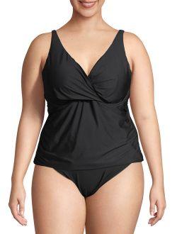 Women's Plus Size Twist Front Solid Tankini Swimsuit Top