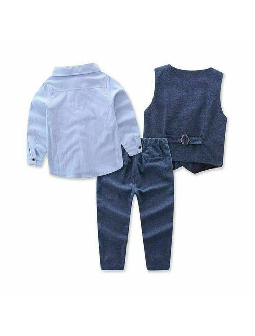 Hirigin 3PCS Outfits Clothes Sets Suit Toddler Baby Boy Gentleman Waistcoat Shirt Pants Blue 3T