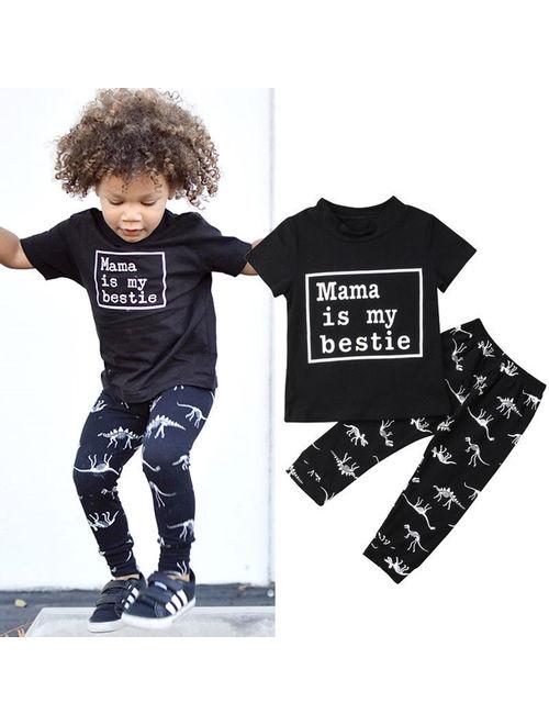 Hirigin 2Pcs Newborn Kid Baby Boy Cotton Tops Cartoon Dinosaur Pants Legging Outfits Black 12-18 Months