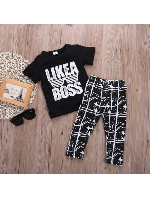 Canis Kids Short Sleeve Baby Boy Summer Clothes Casual Tops T-shirt+Pants 2pcs Outfits 1-5Years