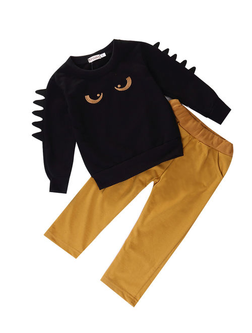 Hirigin Toddler Kids Baby Boy Outfits Clothes Monster Sweatshirt Top+Pant 2PCS