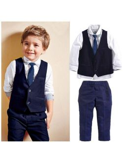 Fashion New Baby Kids Boys Suit Tops Shirt Waistcoat Tie Pants Formal Flower Boys 4PCS Outfits Clothes
