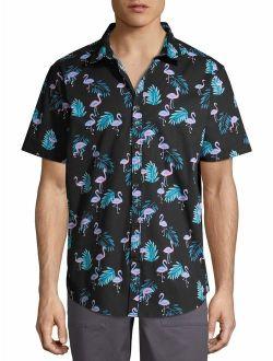 Men's Flamingo Print Short Sleeve Button-up Shirt, Up To Size 3xl