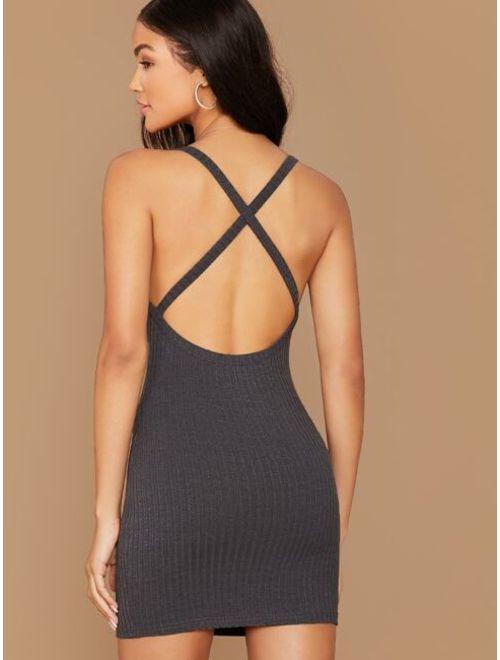 Shein Crisscross Open Back Rib-knit Bodycon Dress