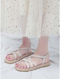 Open Toe Cross Strap Flat Sandals